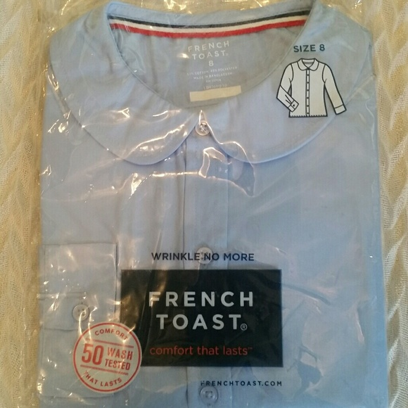 2b8da1ceaa3bfb French Toast Girls Poplin Long Sleeve Blouse Sz 8